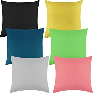 Aneco Pack of 6 Decorative Outdoor Waterproof Throw Pillow Covers Square Patio Cushion Cases Garden Pillowcases for Patio, Couch, Tent, Balcony and Sofa, 18 x 18 Inches, 6 Classic Colors