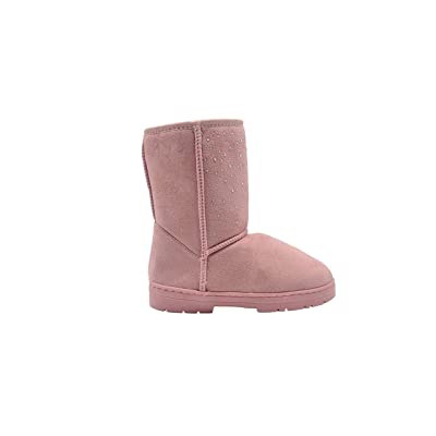 """Via Rosa Women's 8"""" Mid Calf Microsuede Winter Boots Embellished with Sparkly Rhinestones   Mid-Calf"""