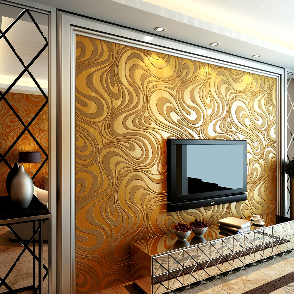 QIHANG Modern Luxury Abstract Curve 3d Wallpaper Roll Mural Papel De Parede Flocking for Striped Gold&yellow Color Qh-wallpaper 0.7m8.4m=5.88㎡