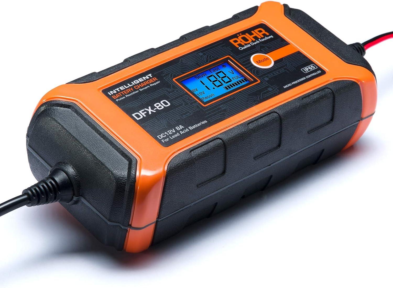 R/öhr Caricabatteria per Auto da 8 Amp 12V DFX-80 Intelligente Turbo//Manutenzione con Tecnologia di Manutenzione e Riparazione della Batteria