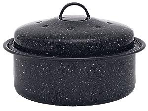 Granite Ware Covered Round Roaster Pan, Black
