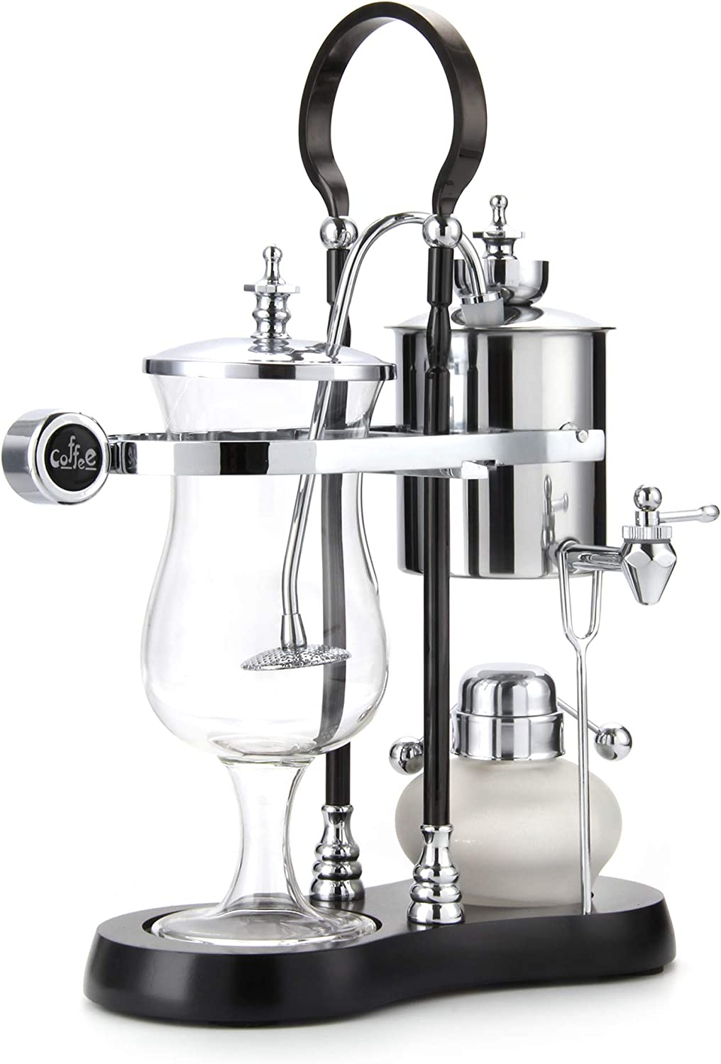Diguo Belgian Belgium Luxury Royal Family Balance Syphon Coffee Maker (Silver - Black Column)
