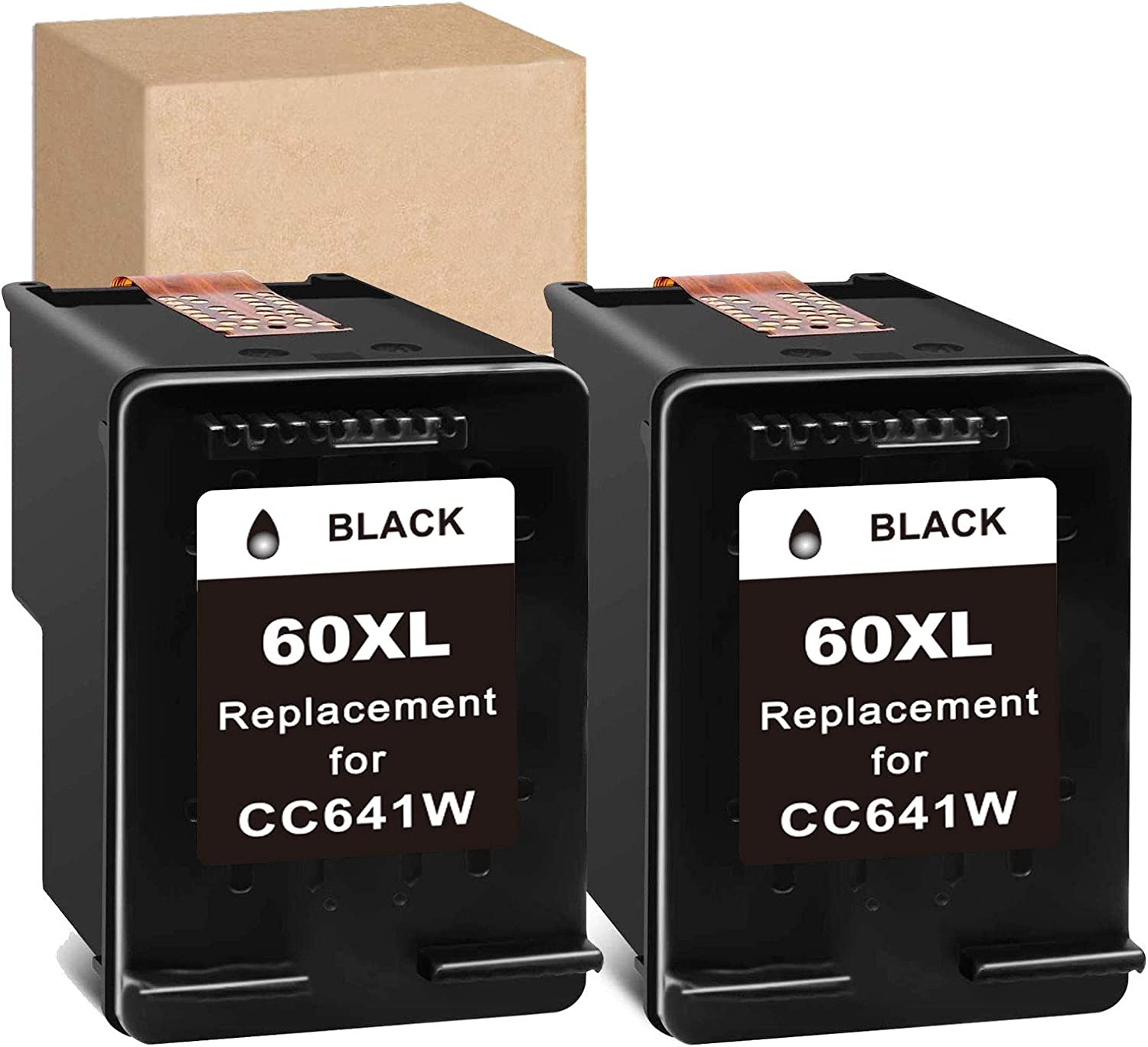 InkSpirit Remanufactured Ink Cartridge Replacement for HP 60 60XL Black Use with PhotoSmart C4700 C4795 C4600 D110a Envy 120 100 114 DeskJet F4235 F4580 F4400 F2430 F4440 F2480 Printer , 2 Pack