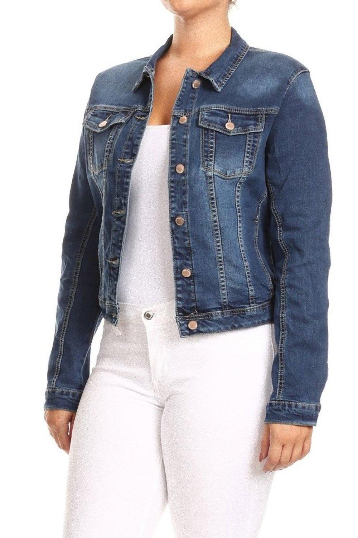 Women's Premium Denim Jackets Long Sleeve Jean Coats in M. Blue Size M