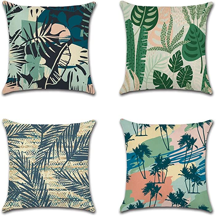 AOUSHAN Cozy Decorative Throw Pillow Cases for Home, Couch, Sofa, Bed - 4PCS Zip Accent Pillow Cover 100% Quality Linen Fabric(Tropical Forest) 18 x 18 Inches (4Pack Colour-B)