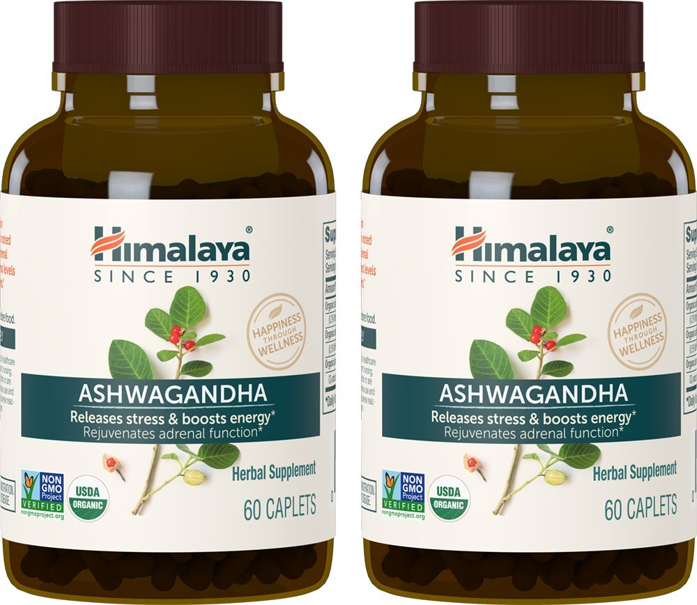 Himalaya Organic Ashwagandha, Adaptogen for Stress-Relief, Cortisol Level Support and Energy Boost, 60 Caplets, 670 mg (2 Pack) by Himalaya Herbal Healthcare
