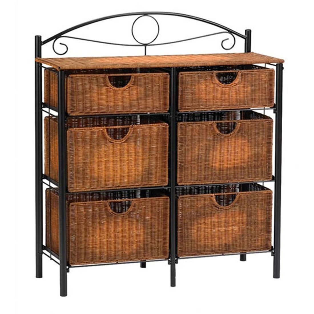 Amazon Com 6 Drawer Storage Chests Organizer Woven Wicker Baskets