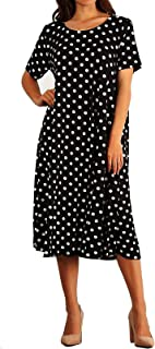 product image for Funfash Women Plus Size Short Sleeves Polka Dots Black White Dress Made in USA