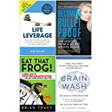 Life Leverage, Becoming Bulletproof, Eat That Frog, Brain Wash 4 Books Collection Set