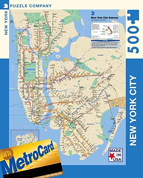 Subway Map For New York City.New York Puzzle Company New York City Transit Mta Subway Map 500 Piece Jigsaw Puzzle