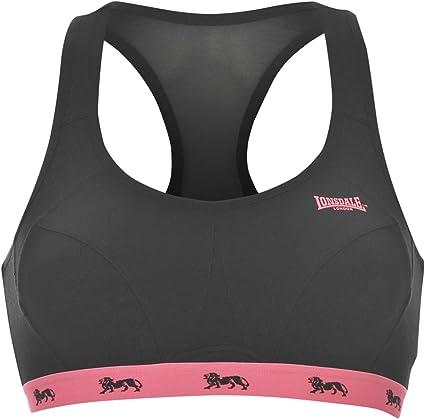 Lonsdale - Sujetador deportivo para mujer, sin soporte, color negro, 36B