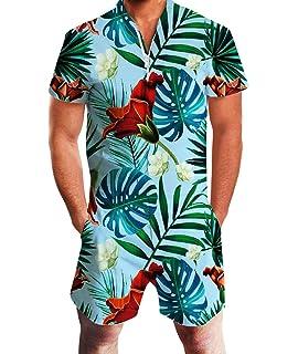 3834e20c1c59 Idgreatim Men 3D Graphic One Piece Romper Casual Zipper Short Sleeve  Jumpsuit Overalls