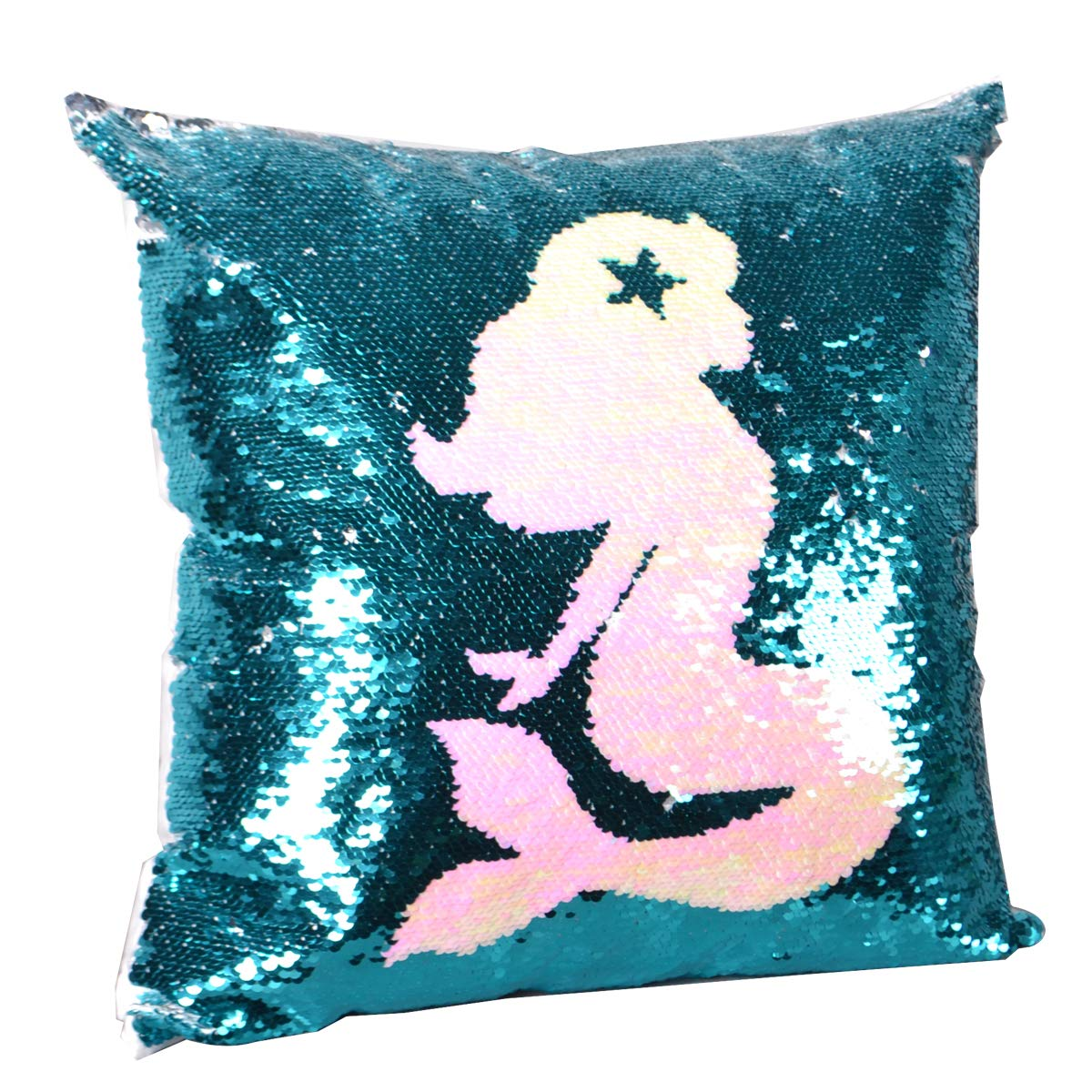 Leegleri Mermaid Sequins Pillow Case, Reversible Sequin Throw Pillow Cover with Zip,Magic Mermaid Gift Cushion Cover for Couch Bed Sofa
