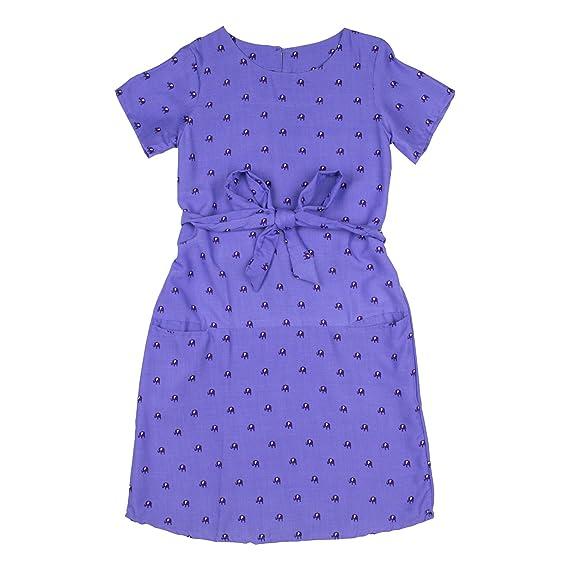 Lofbaz Niñas Rayón Impreso Vestidos Casuales Peacock 1 Violeta 3/4Y