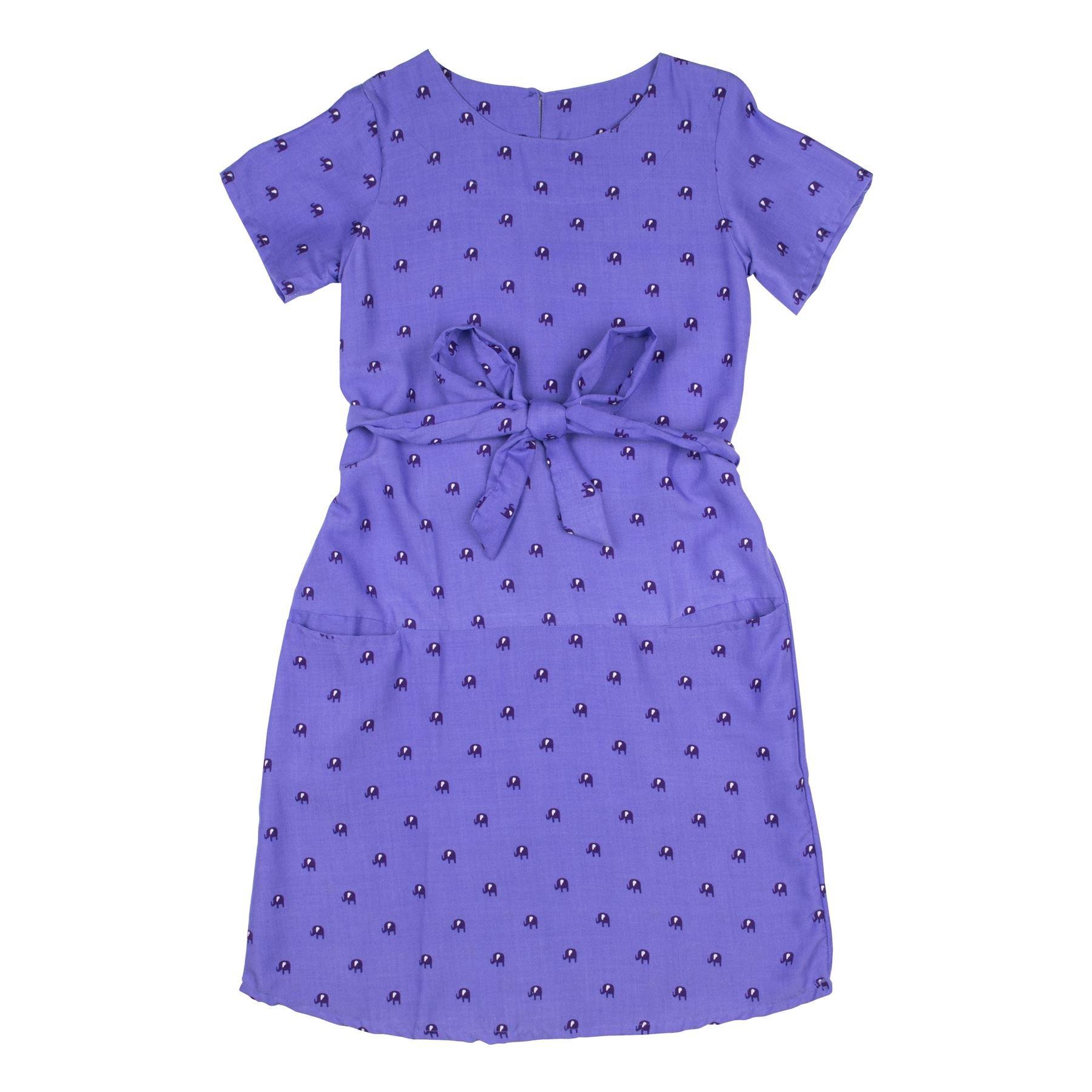 Lofbaz Girls Printed Rayon Casual Dresses Peacock 1 Violet 5/6Y