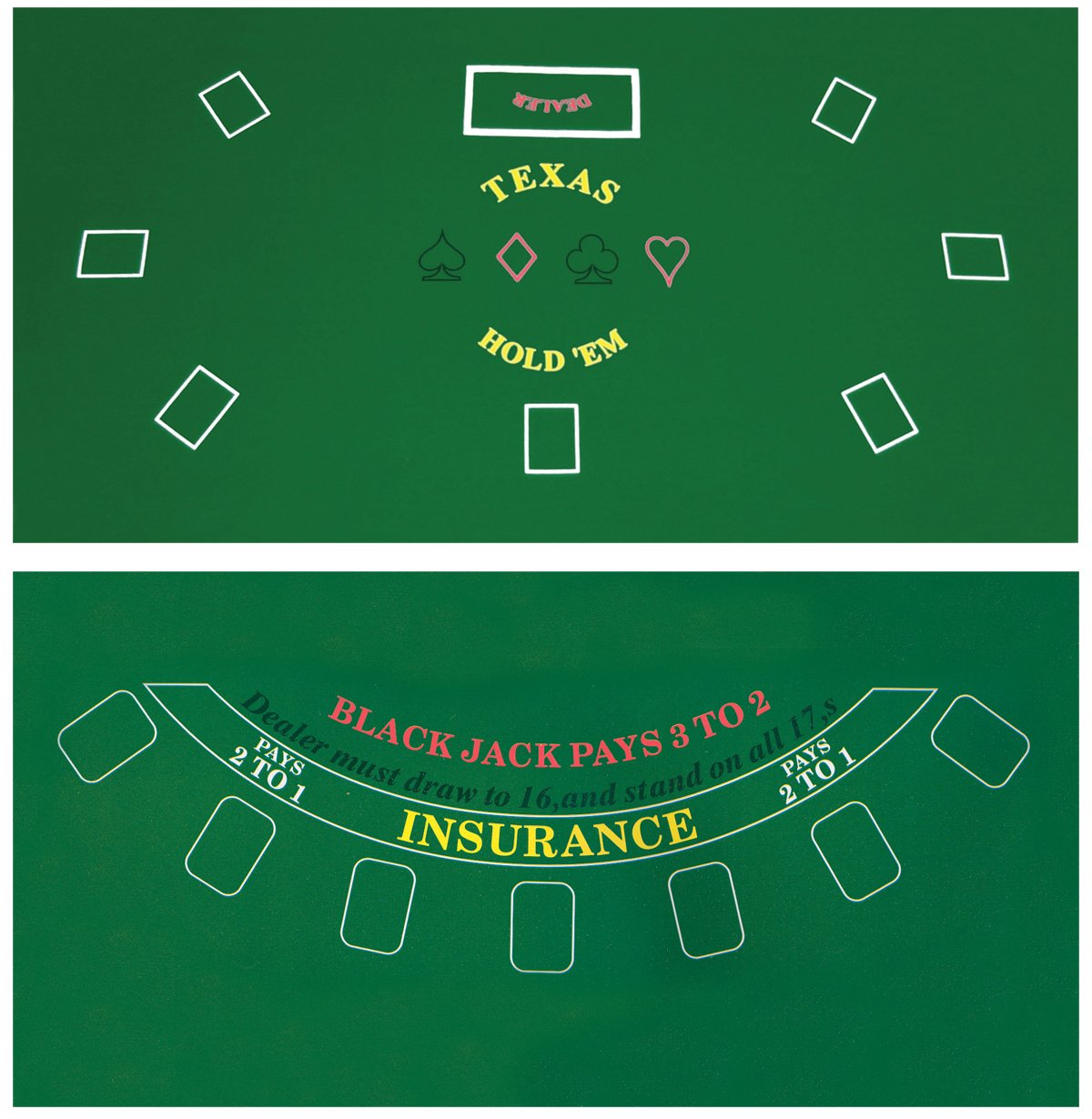 Blackjack table top view - Amazon Com Da Vinci 2 Sided 36 Inch X 72 Inch Texas Holdem Blackjack Casino Felt Layout Poker Table Tops Sports Outdoors