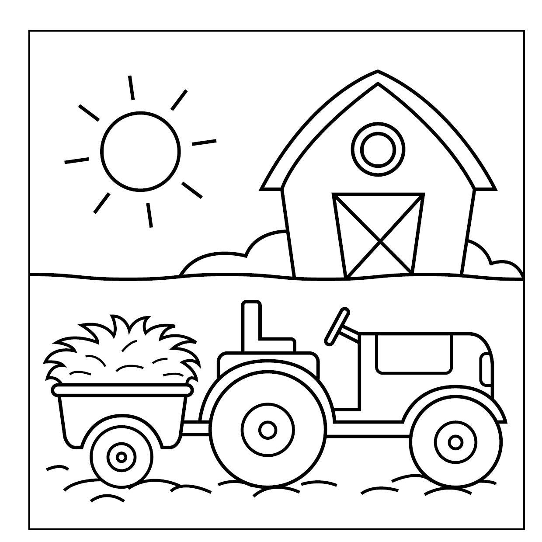 Traktor-Malbuch ab 16 Jahren: Fahrzeuge auf dem Bauernhof zum