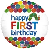 Happy 1st Birthday Balloon The Very Hungry Caterpillar by Eric Carle 18 Round Foil for Helium Inflation Party Decoration…