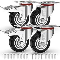 GBL® 4 Zwenkwielen 75mm + Schroeven | Zwaarlastwielen 200KG - Zwenkwielen Voor Meubels | Zwenkwieltjes voor een Trolley…