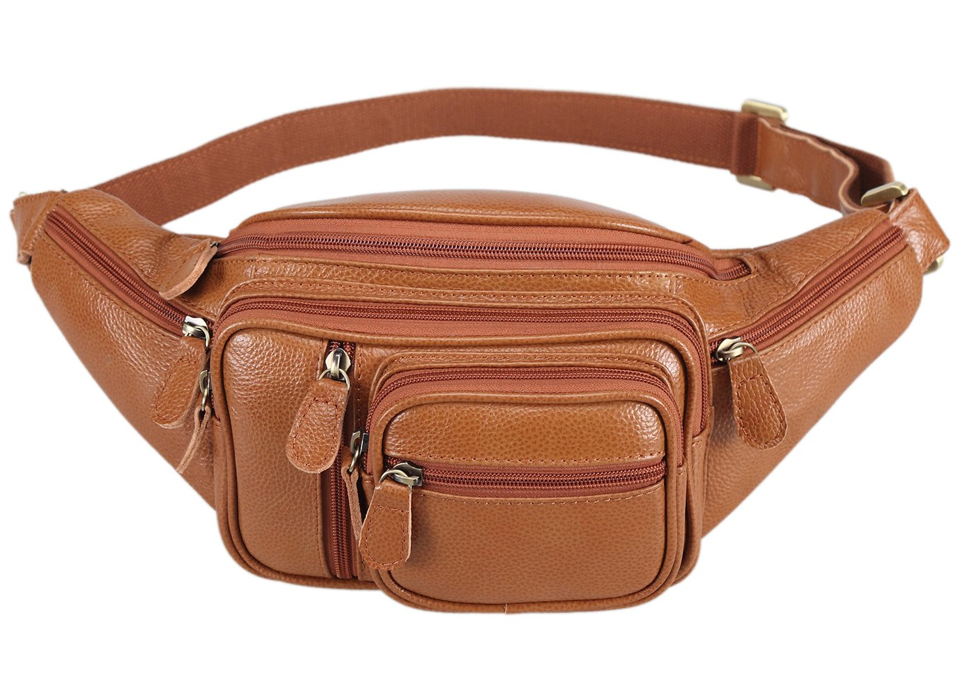 Polare Men's Natural Leather Fanny Pack Waist Bag Brown Large