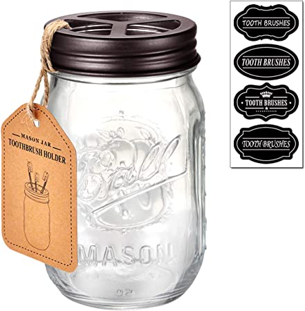 Black Jarmazing Products Mason Jar Toothbrush Holder with 16 Ounce Ball Mason Jar Made from Rust-Proof Stainless Steel