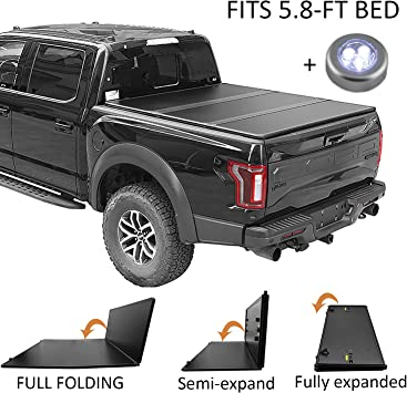 Amazon Com Carmocar Hard Tri Folding Truck Bed Tonneau Cover For 2007 2018 Replacement For Chevy Silverado Gmc Sierra 5 8 Ft Bed Fleetside Waterproof Tonneau Covers Top Mount Assembly Led Lamp Automotive