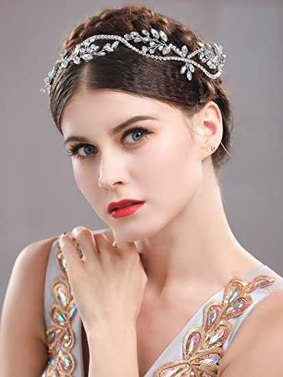 Handcess strass fascia da sposa capelli ghirlanda di vite corona e tiara per  sposa e damigelle 7acf707f9906