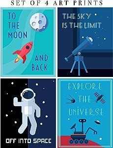 Kids Space Decor Art Prints Posters (Set of 4) - Unframed - 8x10