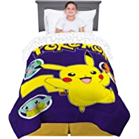 "Franco Kids Bedding Super Soft Comforter, Twin Size 64"" x 86"", Pokemon Pikachu"