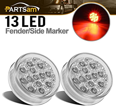 """2x 2.5/"""" Clear//Red Flush Mount Led Light Marker Clearance w Grommet 13LED w Refle"""
