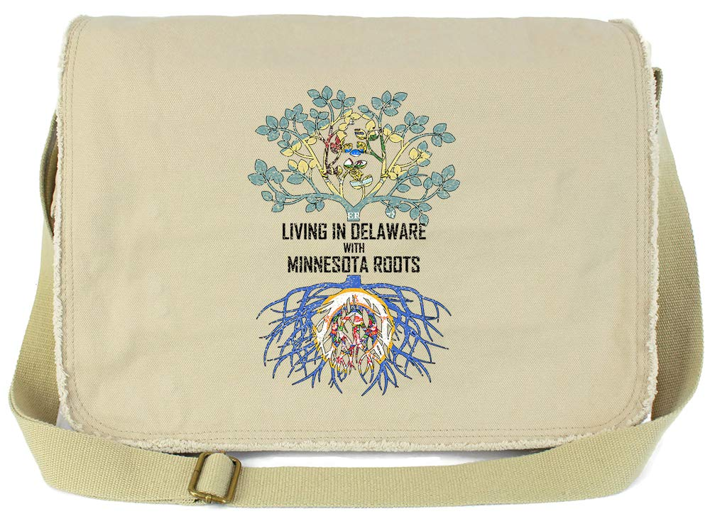 Tenacitee Living In Delaware with Minnesota Roots Grey Brushed Canvas Messenger Bag
