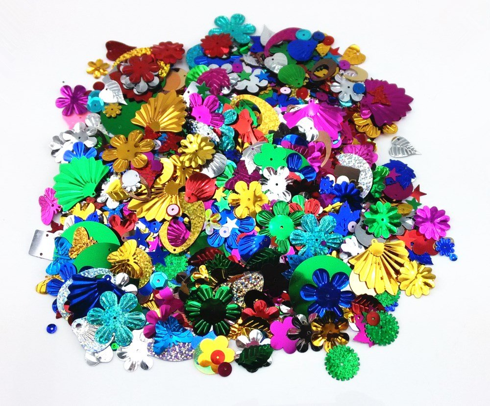 Honbay 100 Gram Mixed Sequins and Spangles Craft Supplies, Assorted Shapes, Color and Sizes 4337033475