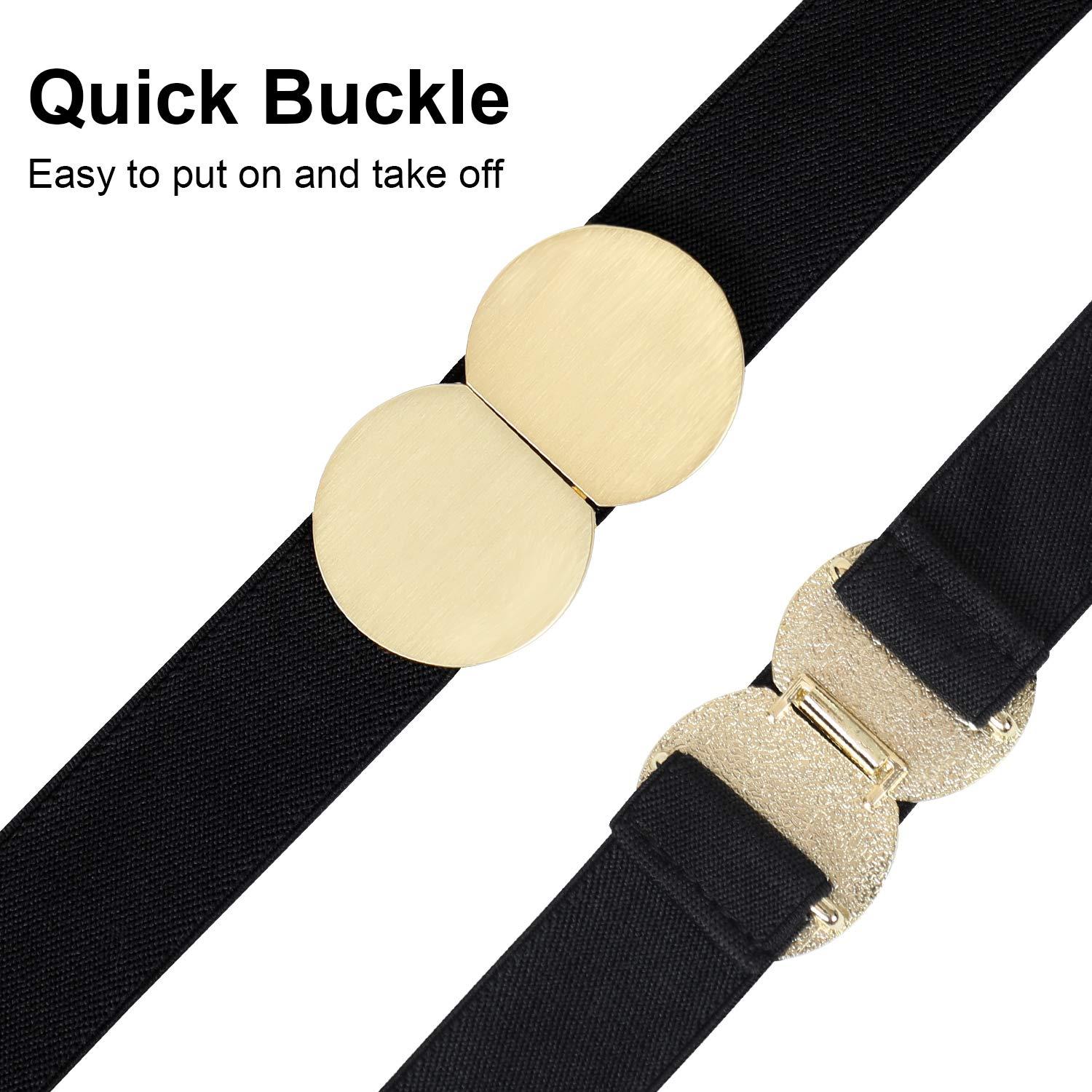Elastic Waist Belts for Women - BALTEUS Fashion Stretch Belt with Gold Metal Quick Buckle Ladies Dresses Jeans Belt (Black, Fit Waist Size 33\