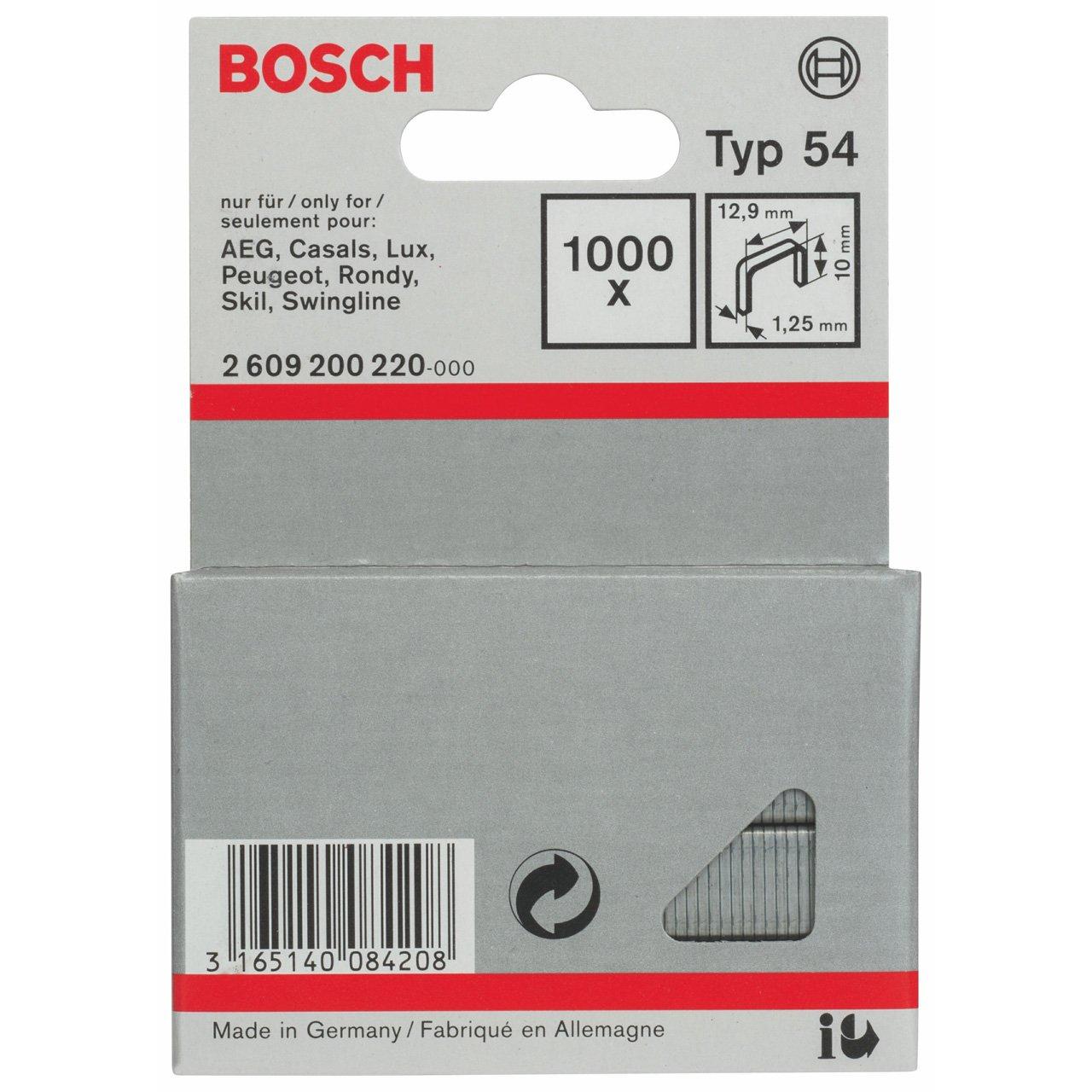 Bosch 2 609 200 220 - Grapa de alambre plano tipo 54-12, 9 x 1, 25 x 10 mm (pack de 1000) 2609200220