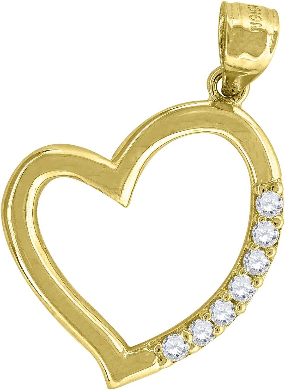 Ht:28mm x W:19mm FB Jewels 10k Yellow Gold CZ Cubic Zirconia Polished womens Heart Charm Pendant