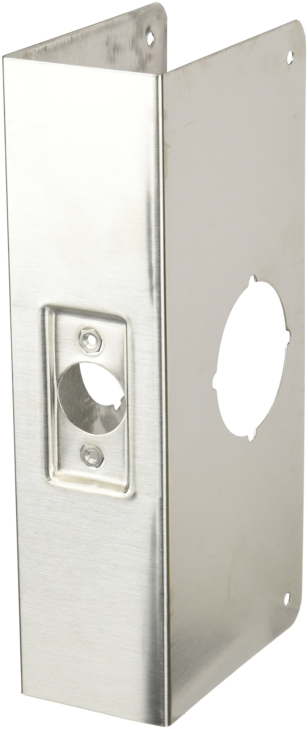 Don-Jo 214-CW 22 Gauge Stainless Steel Wrap-Around Plate, Satin Stainless Steel Finish, 4'' Width x 9'' Height, 2-3/4'' Backset, 2-1/4'' Door Size, For Thicker Doors