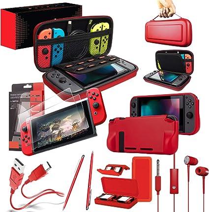 Orzly Ultimate Pack Accesorios para Nintendo Switch [Incluye: Protectores de Pantalla, Cable USB, Funda para Consola, Estuche Tarjetas de Juego, Funda Comfort Grip Case, Auriculares] – Rojo: Amazon.es: Electrónica