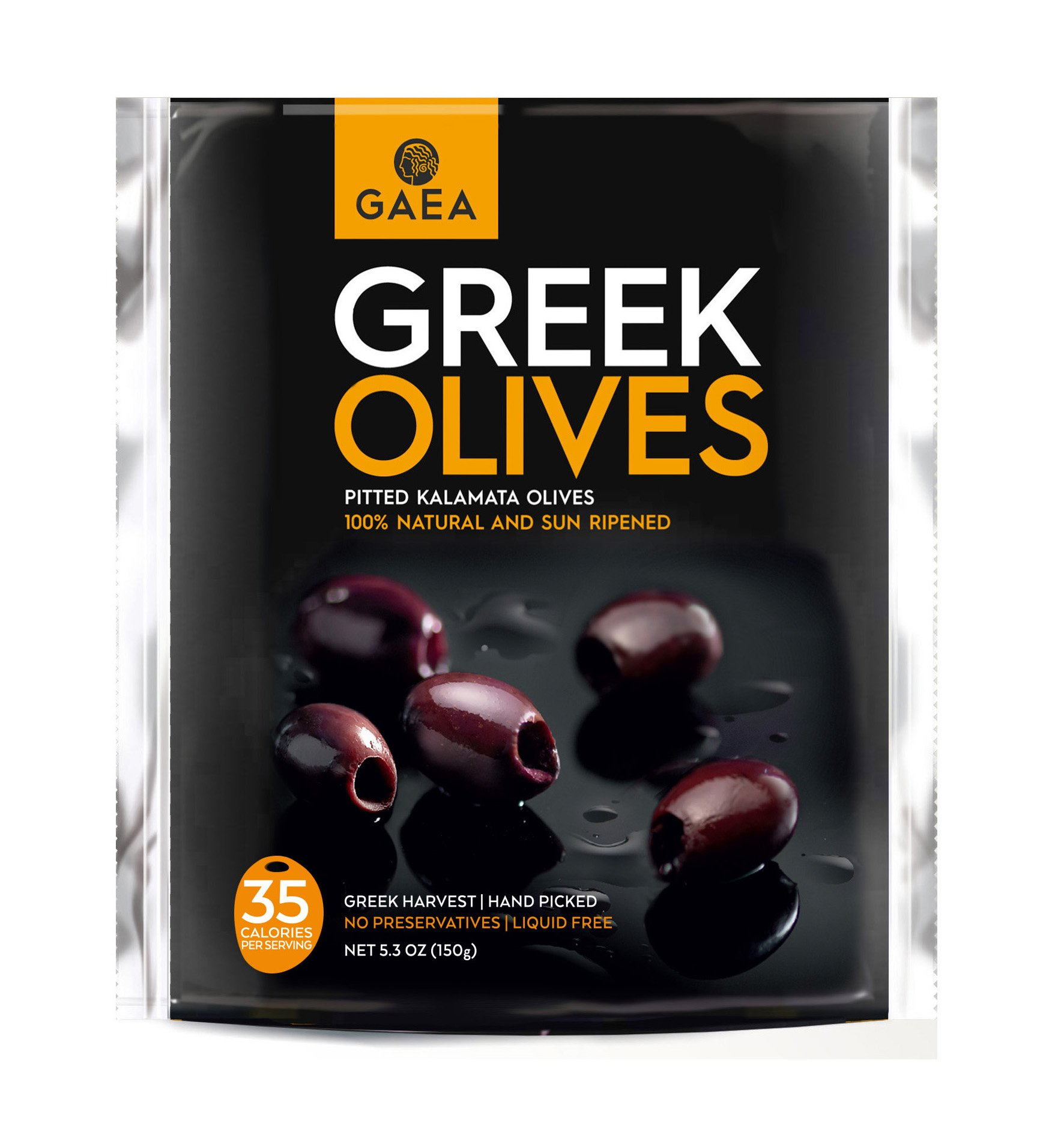 Gaea Snack Pack Pitted Kalamata Olives - 5.3 oz (Pack of 8) by Gaea