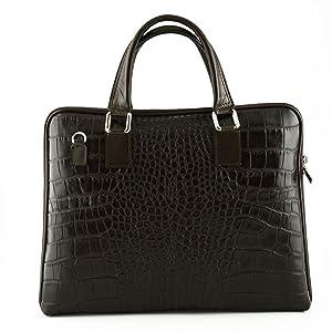 Genuine Leather Woman Briefcase Crocodile Printed Color Dark Brown