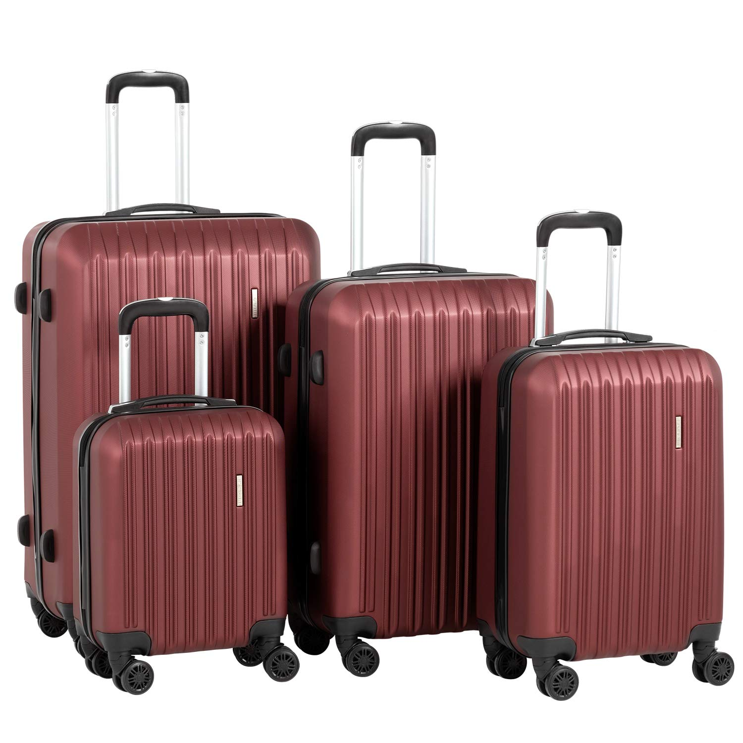 Murtisol 4 Pieces ABS Luggage Sets Hardside Spinner Lightweight Durable Spinner Suitcase 16'' 20'' 24'' 28'', 4PCS Wine Red by Murtisol