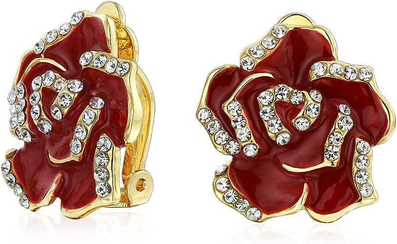 18K White Gold Filled Enamel Flower Pin Earrings Clips Earring Back