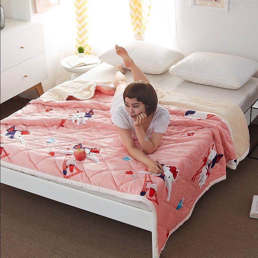YAOHAOHAO Pink Animal of the invisible image that heel of hot-rolled the winter dorm towel quilt flannel (Size: 120200 cm)