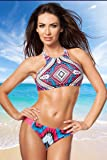 Sexy Bikini Sportif Multicolore Motif Trendy Top Bonnets haut Culotte Beachwear Plage Été Taille S, M, L