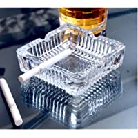 NSK Gold Classic Square Shaped Glass Ash Tray - Set of 1