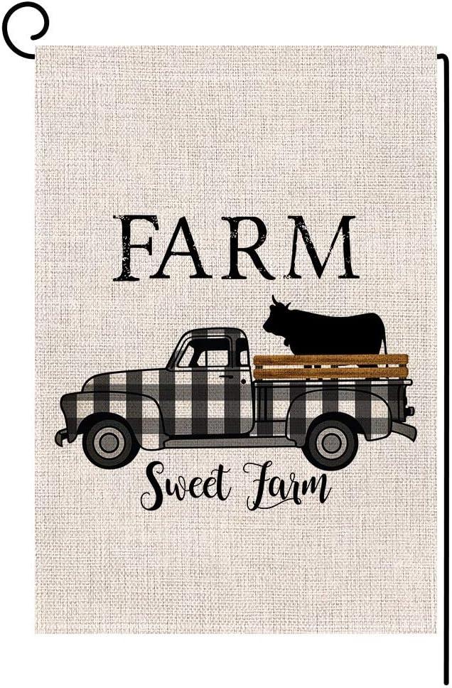 BLKWHT Farm Sweet Farm Buffalo Plaids Cow Truck Small Garden Flag Vertical Double Sided 12 x 18 Inch Farmhouse Yard Decor
