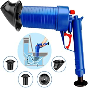 Drain Clog Remover, Toilet Plunger Pressure Pump Cleaner, High Pressure Plunger Opener Cleaner Pump Bath Toilets, Bathroom, Shower, Kitchen Clogged Pipe Bathtub