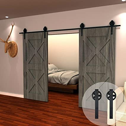 amazon com winsoon 11ft wood double sliding barn door hardwareamazon com winsoon 11ft wood double sliding barn door hardware basic black big spoke wheel roller kit,5 18ft for choose home improvement