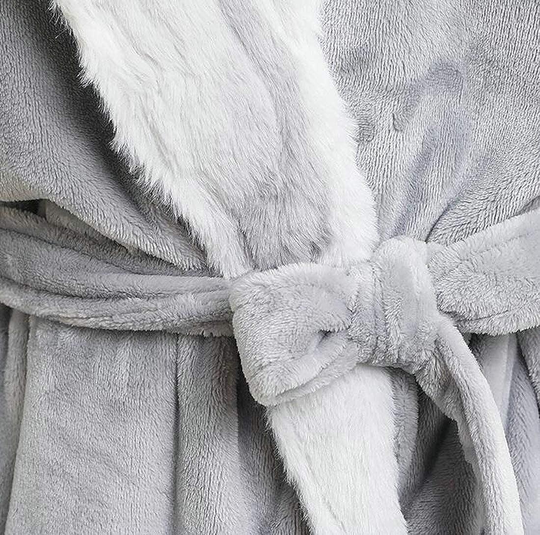 Sweatwater Mens Flannel Bathing Shawl Collar Bathrobes Ultra Soft Robes