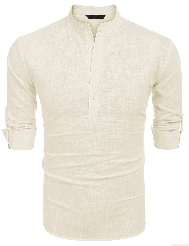 Burlady Herren Hemd Kurzarm Langarm Leinenhemd aus Baumwollmischung Kariert Sommer Freizeit Men´s Shirt