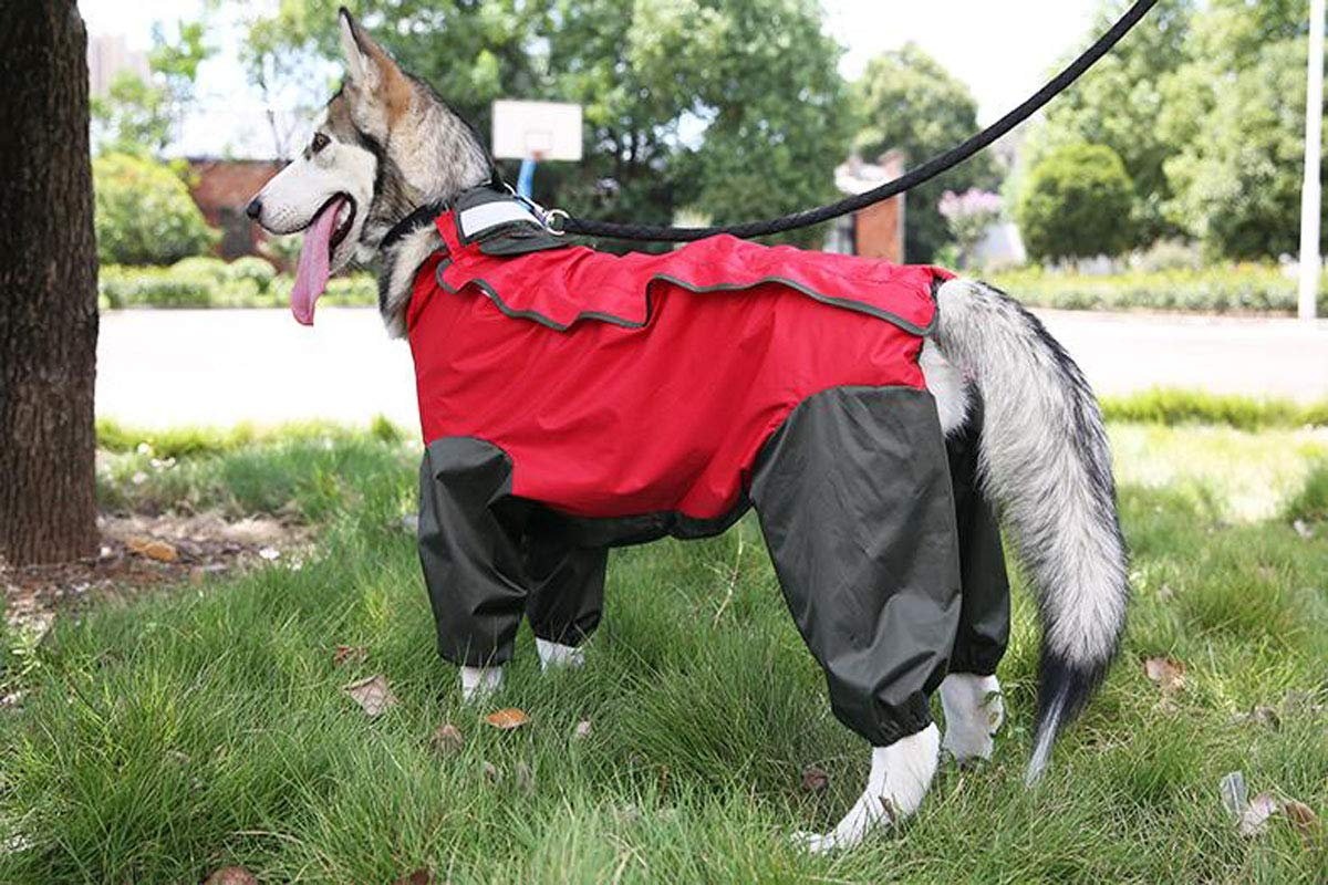 Red 20  Red 20  Jingfeng Dog Raincoat, Waterproof Clothing for Large Pets Beautiful (color   Red, Size   20 )